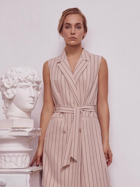 Платье-жилет с поясом и карманами - фото 1