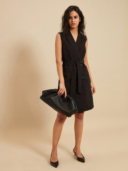 Платье-жилет с поясом и карманами - фото 4