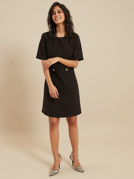 Платье-миди с коротким рукавом - фото 4