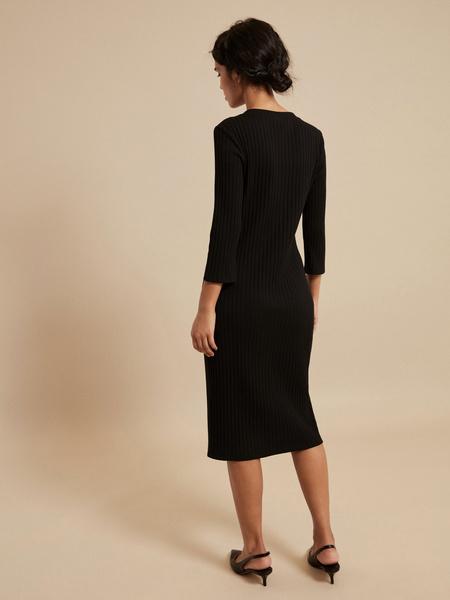 Платье-миди в рубчик с V-вырезом - фото 3