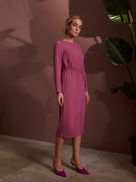 Платье на резинке с разрезом - фото 1