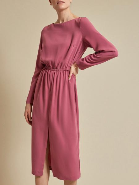 Платье на резинке с разрезом - фото 6