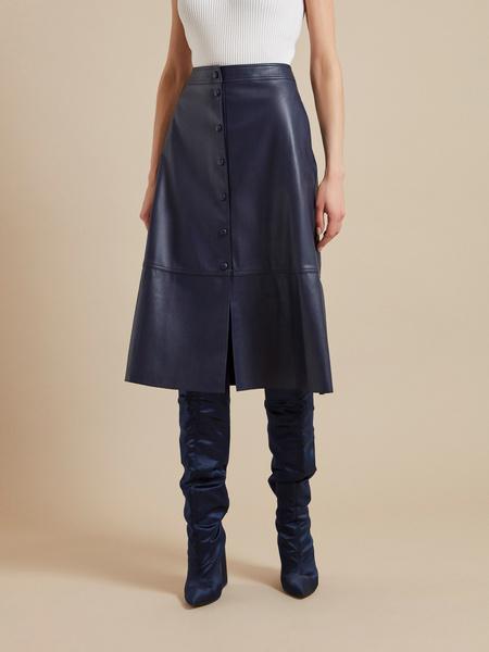Расклешенная юбка-миди из экокожи - фото 3
