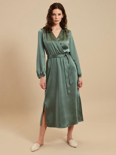 Платье-миди на запах с поясом - фото 1