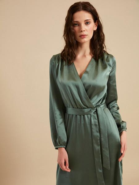 Платье-миди на запах с поясом - фото 2