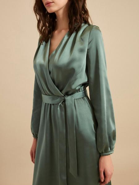 Платье-миди на запах с поясом - фото 3
