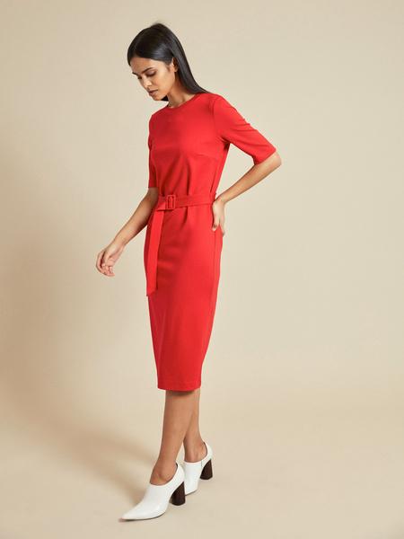 Платье-миди с поясом - фото 3