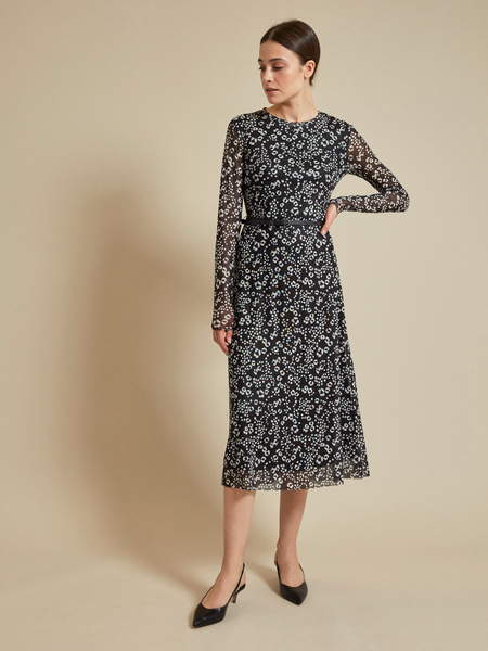 Сетчатое платье-миди на подкладе - фото 1