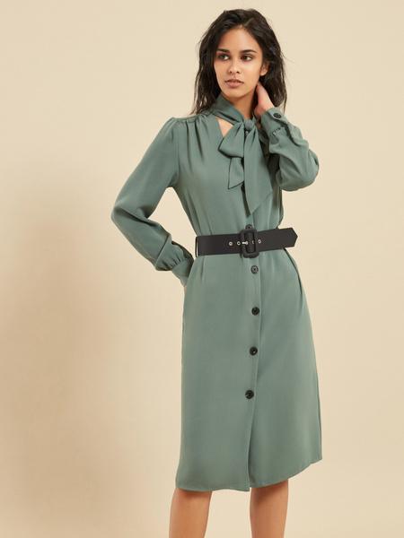 Платье-миди с ремнем - фото 1
