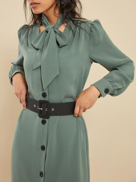 Платье-миди с ремнем - фото 2