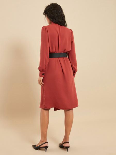 Платье-миди с ремнем - фото 5