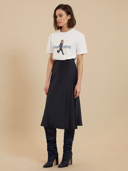 Атласная юбка-миди - фото 1