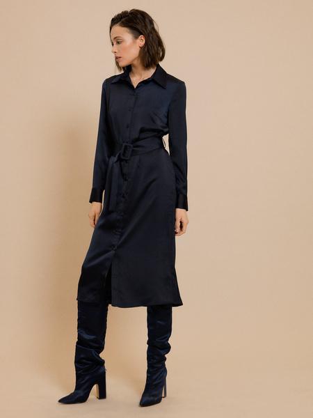 Атласное платье-миди - фото 1