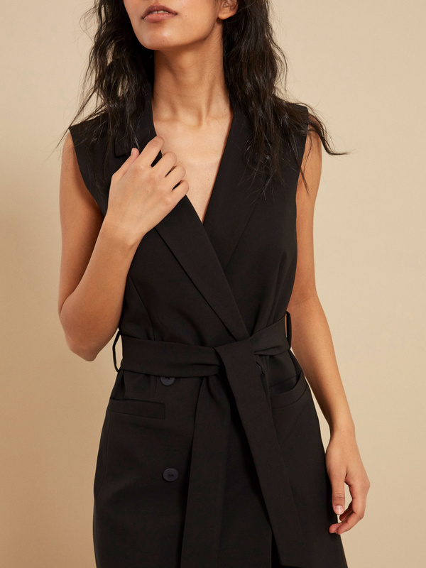 Платье-жилет с поясом и карманами - фото 2