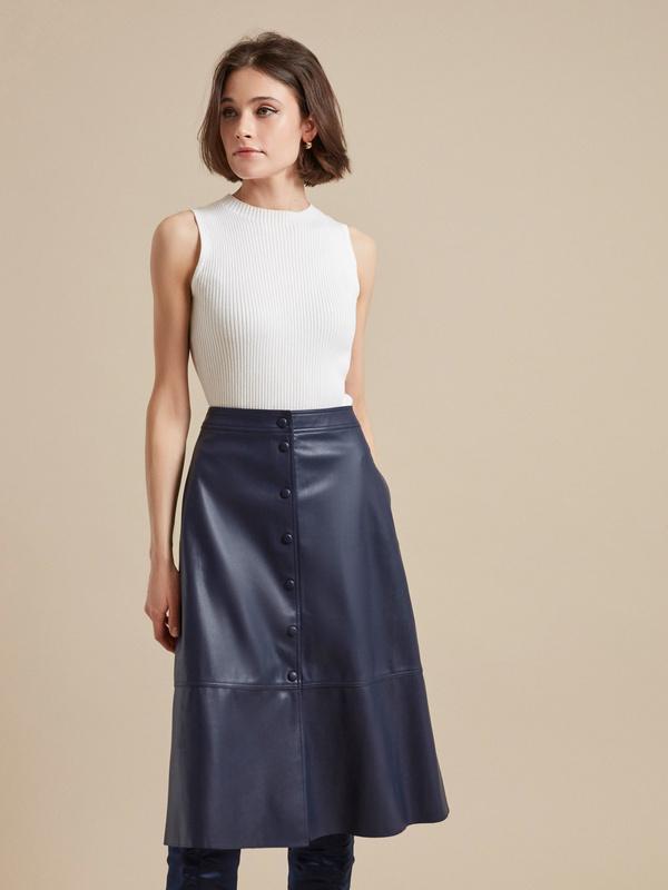 Расклешенная юбка-миди из экокожи
