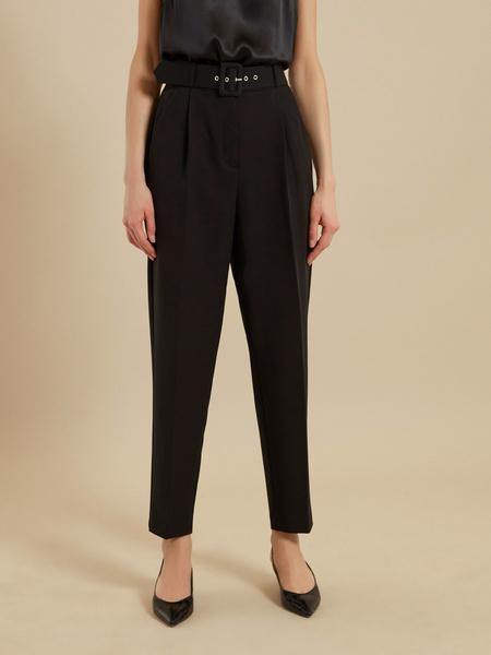 Зауженные брюки с ремнем - фото 2