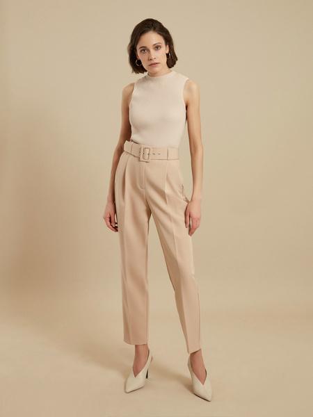 Зауженные брюки с ремнем - фото 1