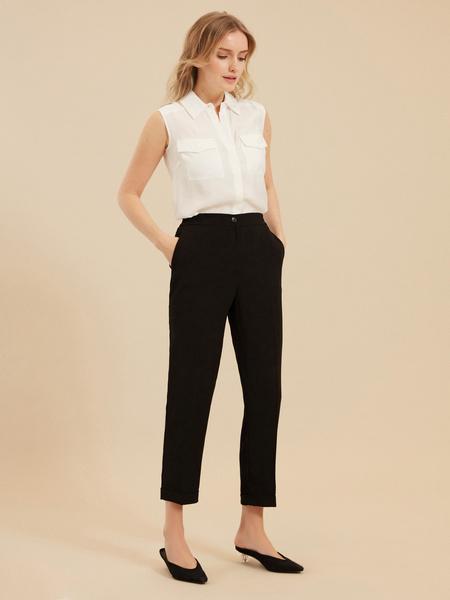 Зауженные брюки с эластичным ремнем - фото 5