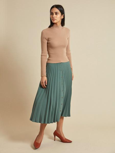 Плиссированная юбка-миди на пуговицах - фото 1