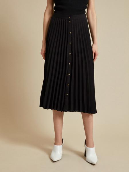 Плиссированная юбка-миди на пуговицах - фото 2