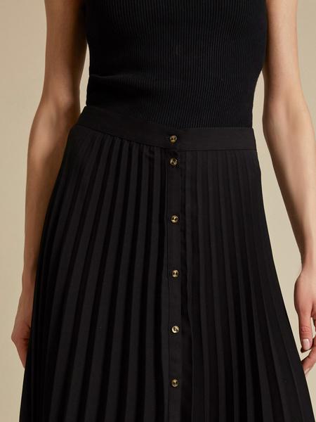 Плиссированная юбка-миди на пуговицах - фото 3
