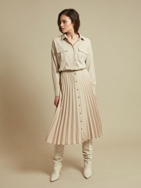 Плиссированная юбка-миди на пуговицах