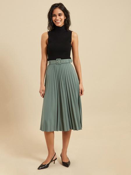 Плиссированная юбка-миди с ремнем - фото 1
