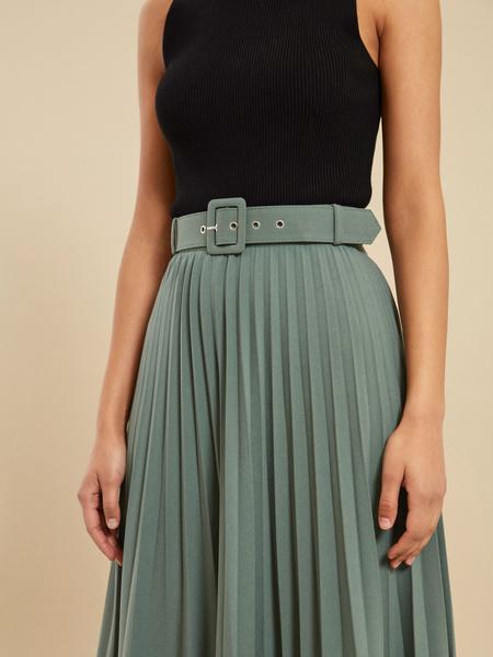 Плиссированная юбка-миди с ремнем - фото 3