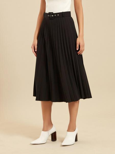 Плиссированная юбка-миди с ремнем - фото 2