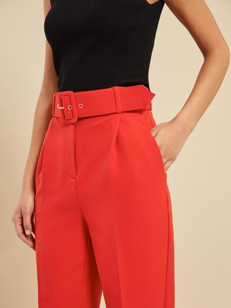 Зауженные брюки с ремнем - фото 3