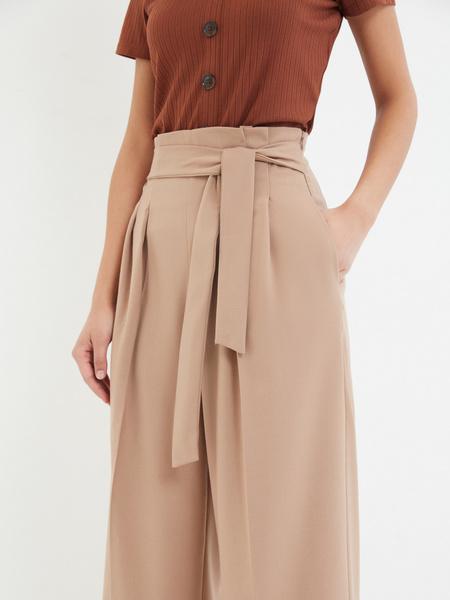 Широкие брюки с поясом - фото 3
