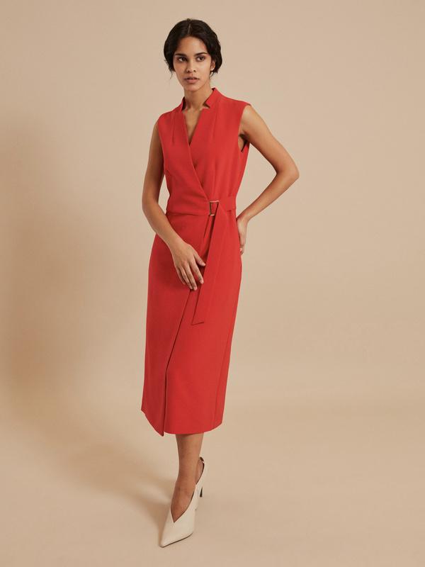 Платье-миди на запах с поясом - фото 6