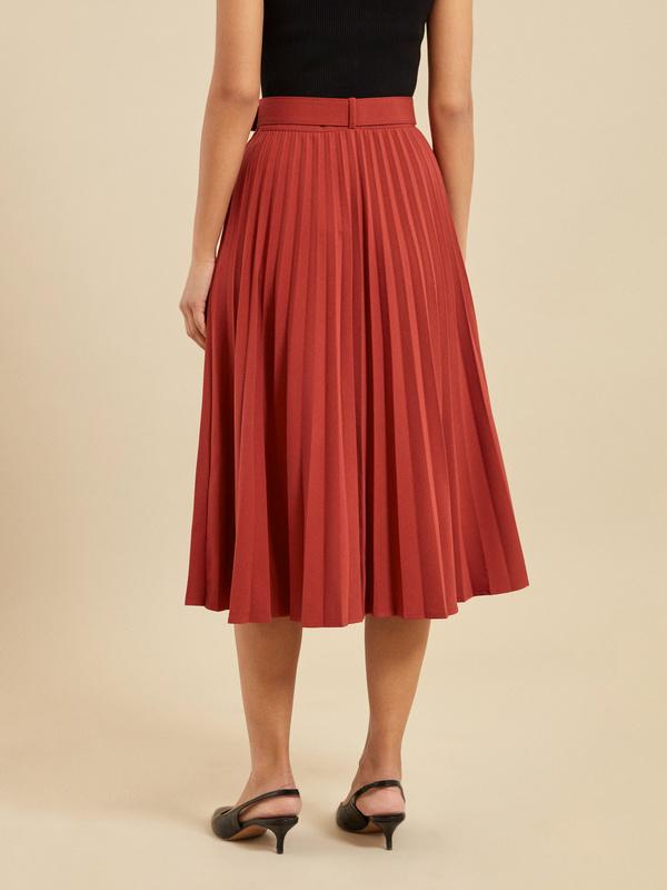 Плиссированная юбка-миди с ремнем - фото 5