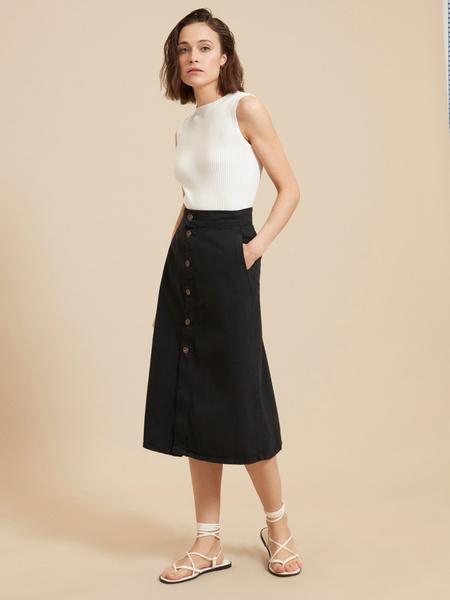 Джинсовая юбка-миди на пуговицах - фото 1