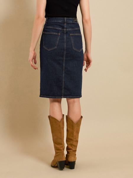 Джинсовая юбка с разрезом - фото 4
