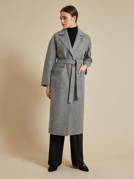 Пальто с поясом и накладными карманами - фото 1