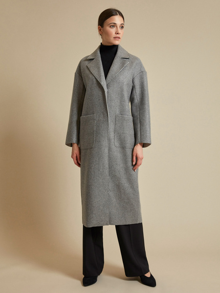 Пальто с поясом и накладными карманами - фото 4