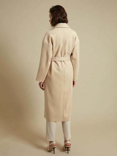 Пальто с поясом и накладными карманами - фото 5