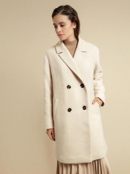 Двубортное пальто с карманами - фото 4
