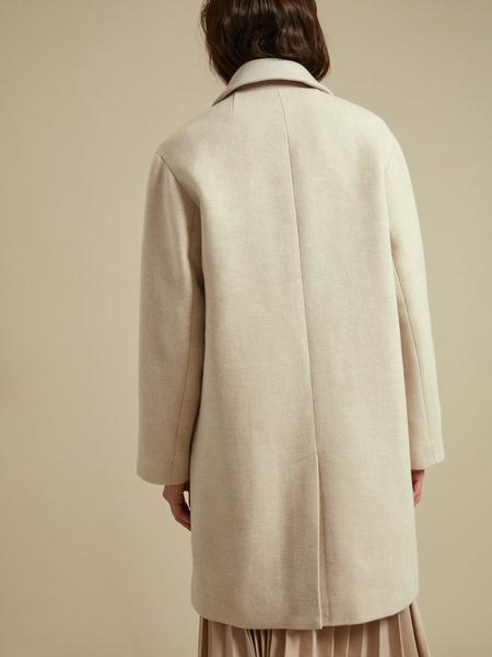 Двубортное пальто с карманами - фото 5