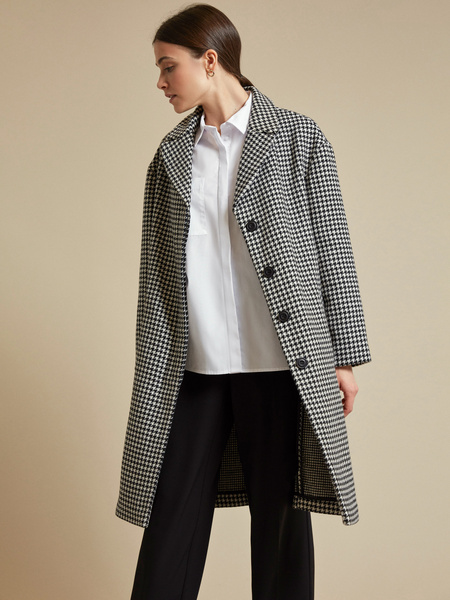 Пальто с принтом гусиная лапка - фото 1