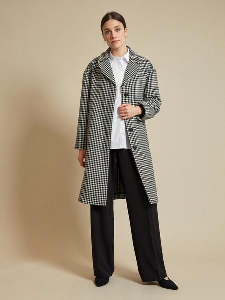Пальто с принтом гусиная лапка - фото 5