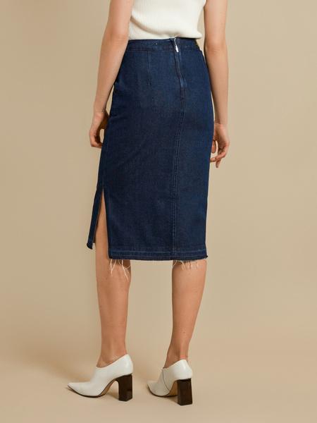 Джинсовая юбка-миди с разрезами - фото 4