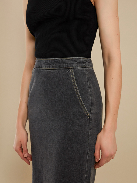 Джинсовая юбка-миди с разрезами - фото 3