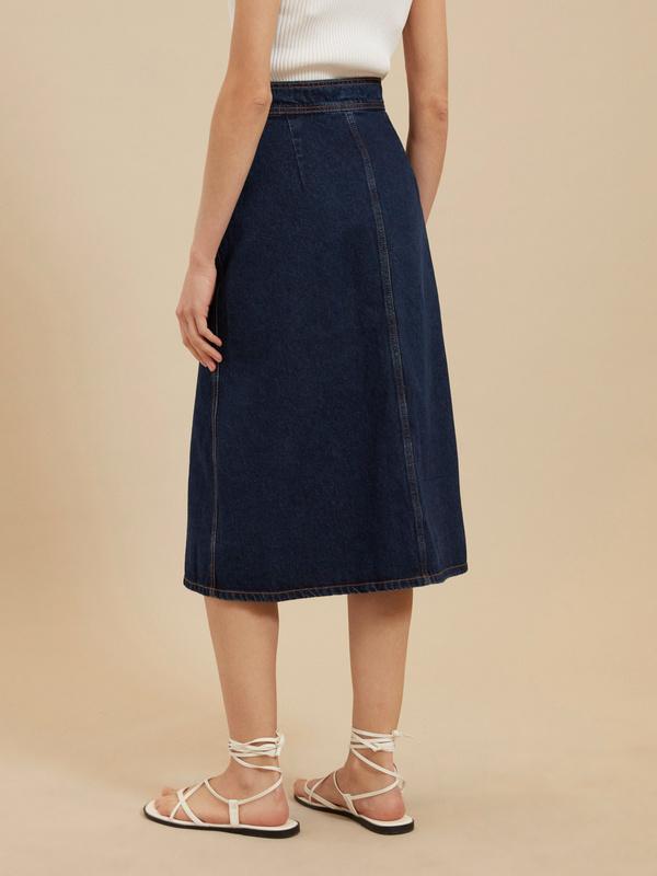 Джинсовая юбка-миди на пуговицах - фото 4