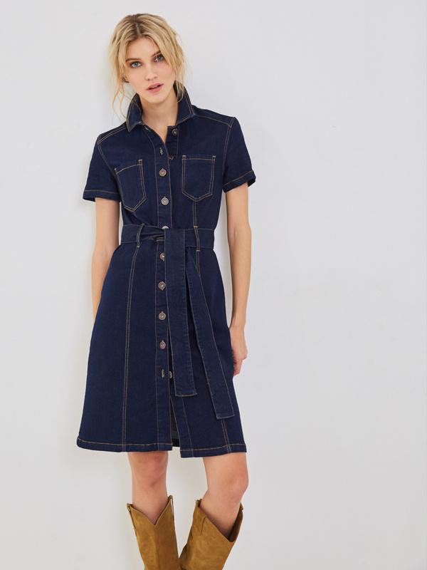 Джинсовое платье с ремнем
