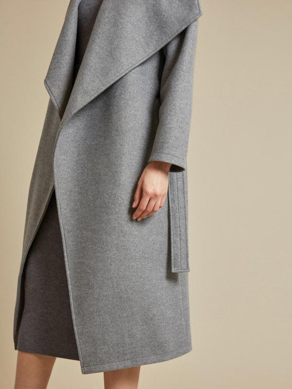 Пальто на запах с поясом - фото 2