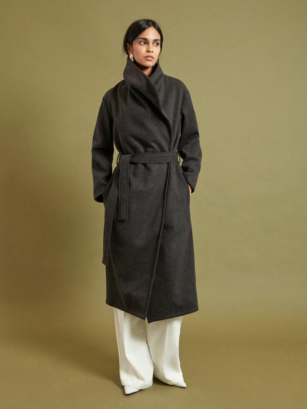 Пальто на запах с поясом - фото 1