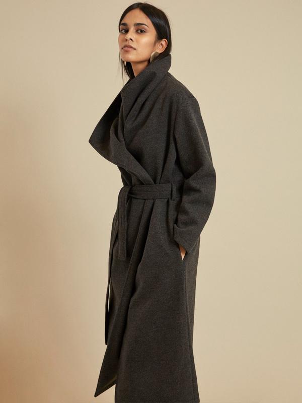 Пальто на запах с поясом - фото 3