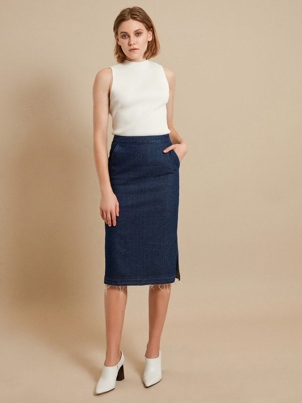 Джинсовая юбка-миди с разрезами